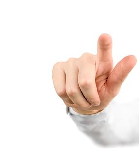 Hand zeigt etwas oder drückt einen knopf mit dem zeigefinger, isoliert auf weiß
