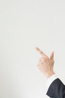 Hand zeigt mit textfreiraum