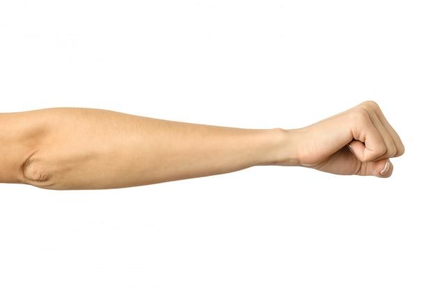 Hand zu einer faust geballt. frauenhand gestikuliert lokalisiert auf weiß