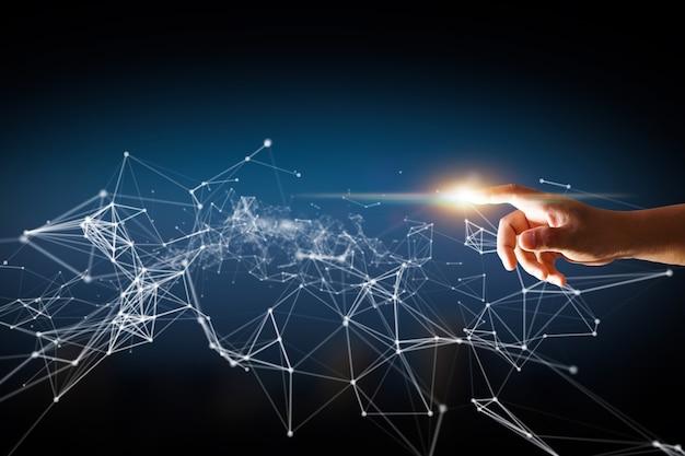 Handberührender punkt mit netzwerkplexus, digitale verbindung mit visuellem globalen netzwerk