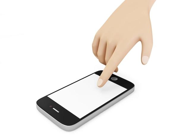 Handberührendes smartphone mit leerem bildschirm lokalisiert auf weißem hintergrund