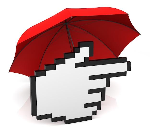 Handcursor mit rotem regenschirm. 3d-rendering