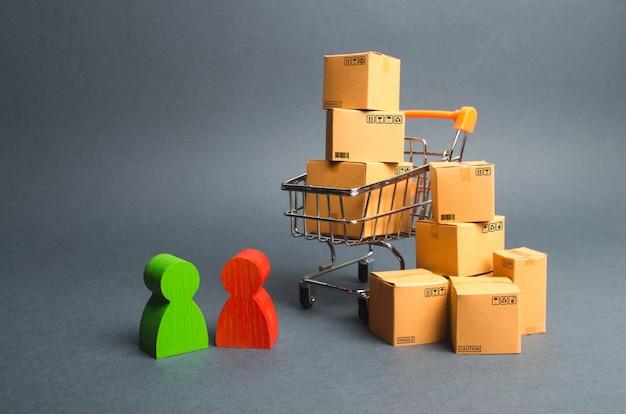 Handelswagen mit kisten, käufer und verkäufer, hersteller und händler. geschäft
