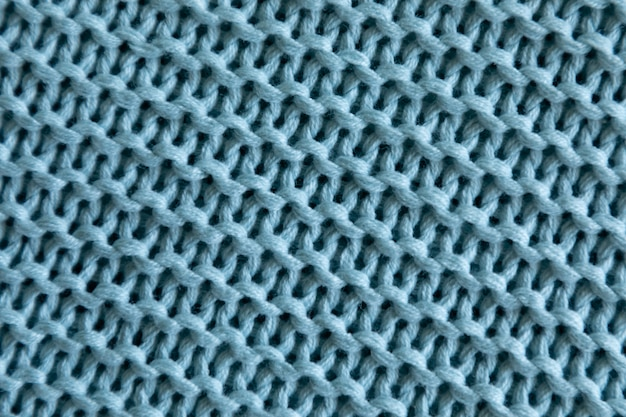 Handgemachte blaue strickwolle textur hintergrund