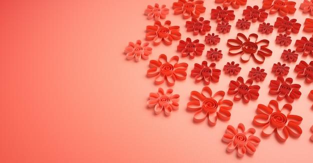 Handgemachte blumen aus papierstreifen geschnitten mit pantone 2019 farben.