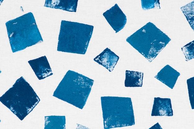 Handgemachte drucke des blauen quadratmusterhintergrundes