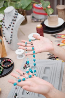 Handgemachte türkisfarbene halskette
