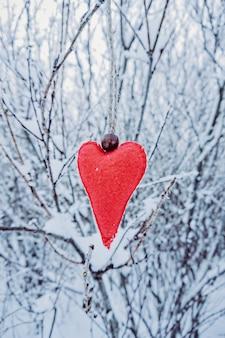 Handgemachtes rotes woolen filzherz, das an der schneebedeckten niederlassung hängt