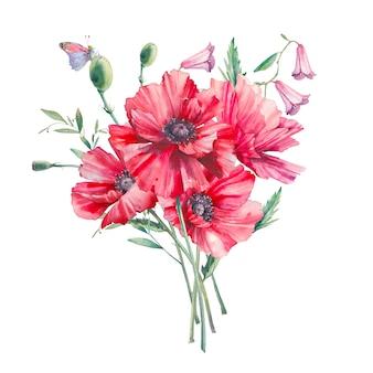 Handgemalte blumenkomposition. botanische aquarellillustration von mohnblumen und -blättern. natürliche objekte lokalisiert auf weißem hintergrund