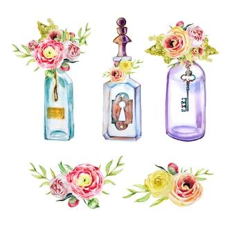 Handgemalte flaschen des aquarells mit schlüssel- und verschlussblumensträußen clipart satz lokalisiert. vintage schlüssel design-elemente.