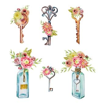 Handgemalte schlüssel und flaschen des aquarells mit dem blumensträuße clipart satz lokalisiert. vintage schlüssel design-elemente.