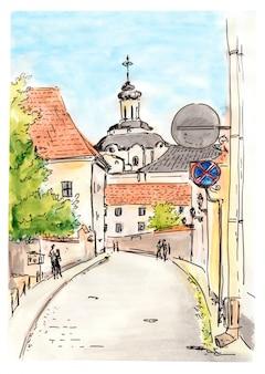 Handgemalte skizze der stadtstraße von vilnius
