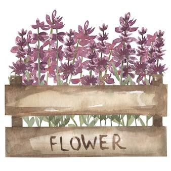Handgemalter aquarelllavendel in der hölzernen kiste. blumenholzkiste perfekt für hochzeitseinladung und -karten. wildblumenillustration.