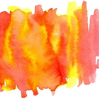 Handgemalter hintergrund des abstrakten aquarells. heißes orange buntes.