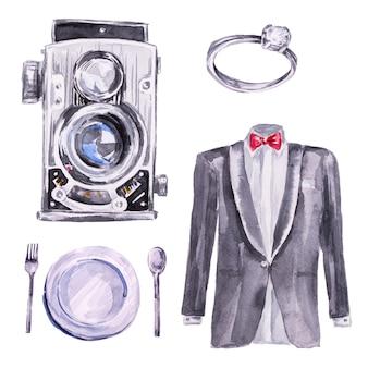 Handgemaltes vintage-kamera-, ring-, teller- und bräutigamkleidungs-clipart-set des hochzeitsaquarells. hochzeitskonzept clipart set isoliert auf weiß. Premium Fotos