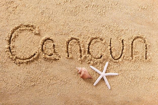 Handgeschriebene strandsandmitteilung cancuns mexiko