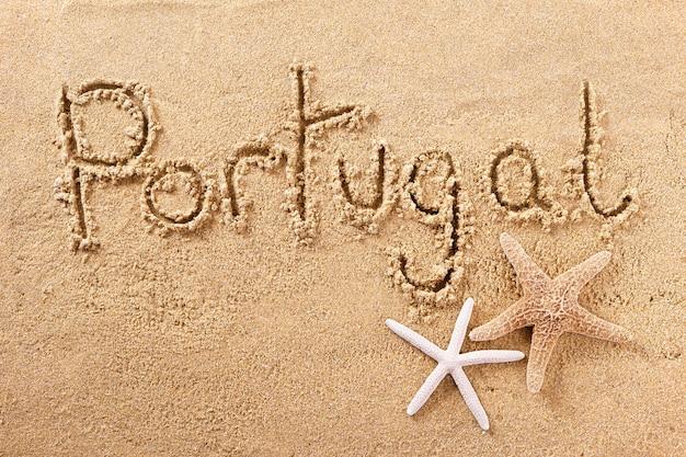 Handgeschriebene strandsandmitteilung portugal-algarve