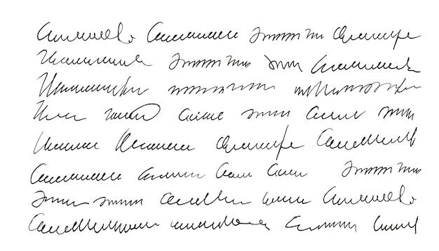 Handgeschriebener undefinierter text. handschrift. kalligraphie. unterschrift. brief.