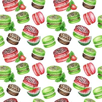Handgezeichnete aquarell französische macaron kuchen nahtlose muster. schokolade, vanille, obst gebäck dessert auf weißem hintergrund bunte makronen kekse, watermelon strawberry mint süße stoffstruktur.