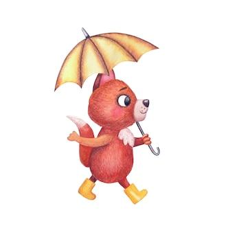 Handgezeichnete aquarell kindliche illustration. süße fuchsfigur in gelben gummistiefeln geht unter einem regenschirm.