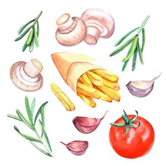 Handgezeichnete aquarell pommes frites in papierverpackung mit tomaten, knoblauch, pilzen und rosmarin, köstliche fast-food-illustration, isoliert auf weißem hintergrund.