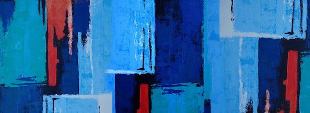 Handgezeichnete blaue malerei abstrakte kunst panorama hintergrundfarben textur design illustration