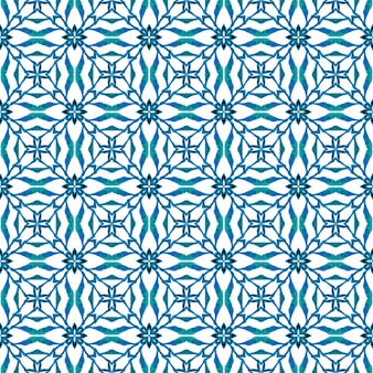 Handgezeichnete grüne mosaik nahtlose grenze. blauer mutiger boho-chic-sommerentwurf. mosaik nahtlose muster. textilfertiger angenehmer druck, bademodenstoff, tapete, umhüllung.