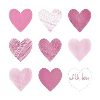 Handgezeichnete herzen zum valentinstag