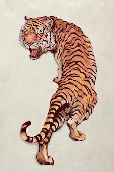 Handgezeichnete illustration des brüllenden tigers