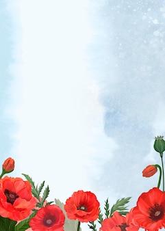 Handgezeichnete mohnblumen mit blauem hintergrund