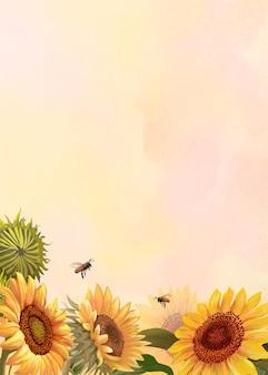 Handgezeichnete sonnenblume auf gelbem hintergrund