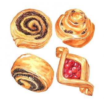 Handgezeichnete süße brötchen mit beeren, rosinen und schokolade. aquarell sammlung von gebäck