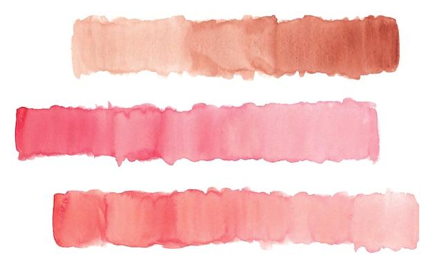Handgezeichneter aquarellpinselstrich in pastellrosa und roter farbe isoliert auf weiß