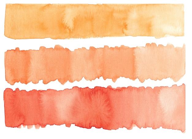 Handgezeichneter aquarellpinselstrich in warmen pastellfarben isoliert auf weiß