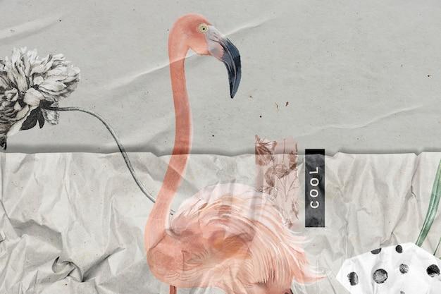 Handgezeichneter flamingo mit zerknitterten papierstruktur-remixed-medien