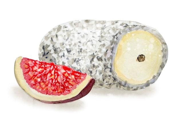 Handgezeichneter ziegenkäse und abb. vegetarisches gesundes essen. aquarellillustration. vorlage für karten-, menü- und scrapbooking