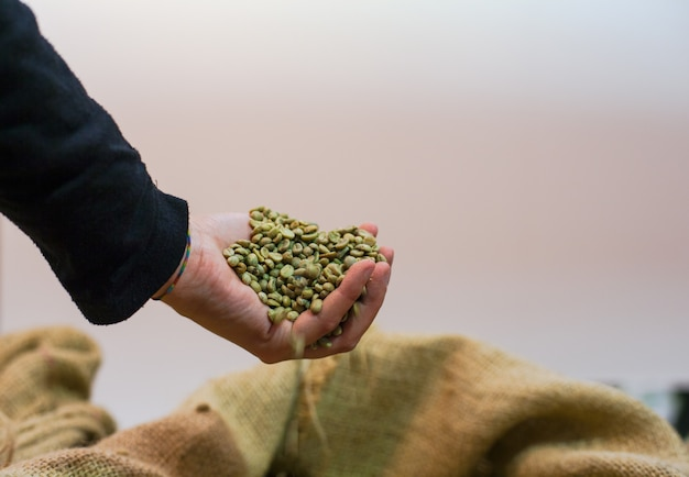 Handrührende kaffeebohnen innerhalb der jutefasertasche