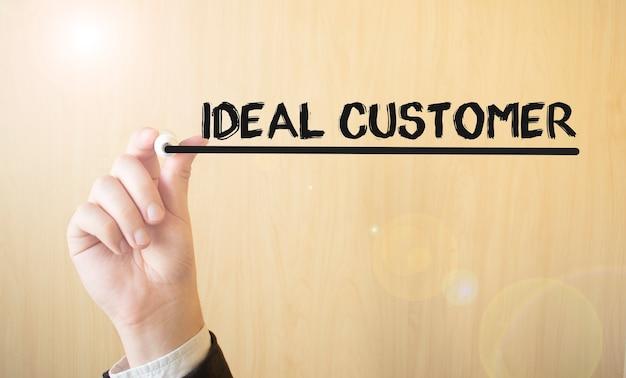 Handschrift inschrift ideal customer, mit marker, geschäftskonzept