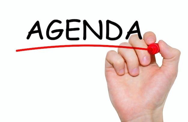 Handschriftliche inschrift agenda mit marker, konzept