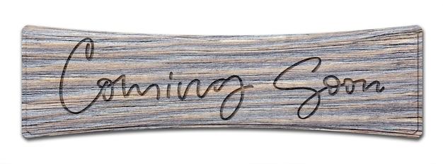 Handschriftliche inschrift auf einem holzschild