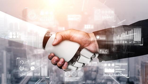Handshake eines humanoiden 3d-renderings für die zusammenarbeit mit zukünftigen technologien