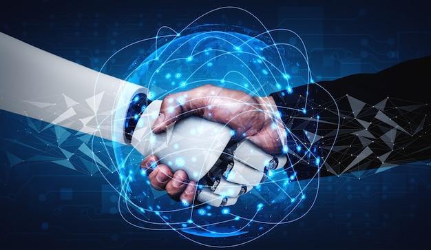 Handshake eines humanoiden 3d-renderings zur zusammenarbeit bei der zukünftigen technologieentwicklung durch ein ki-denkendes gehirn