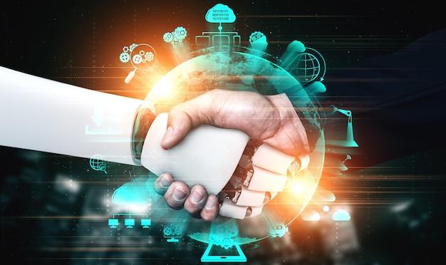 Handshake eines humanoiden 3d-renderings zur zusammenarbeit mit zukünftigen technologien