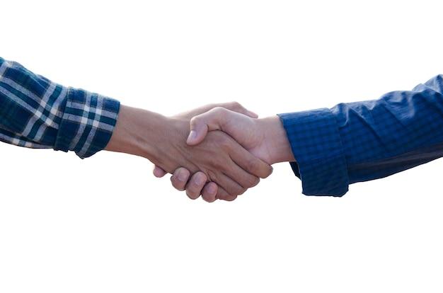 Handshake isoliert auf weißem hintergrund