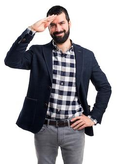 Handsome man salutieren