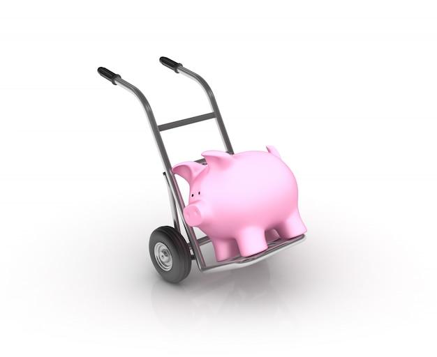 Handwagen mit sparschwein