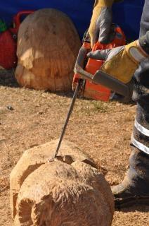 Handwerker arbeiten mit kettensäge