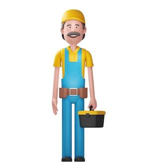 Handwerker mit dem werkzeugkasten. 3d-illustration