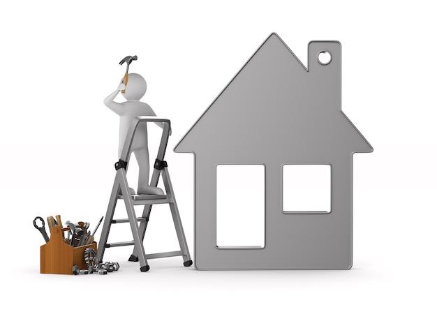 Handwerker mit hölzernem werkzeugkasten. isolierte 3d-illustration