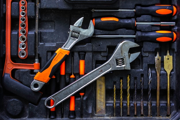 Handwerkermechanikerwerkzeugsatz in der industrie.